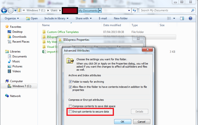 IIS Express 8 – Cannot write configuration file