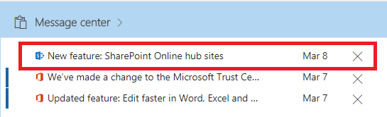 New feature: SharePoint Online hub sites message center post is live