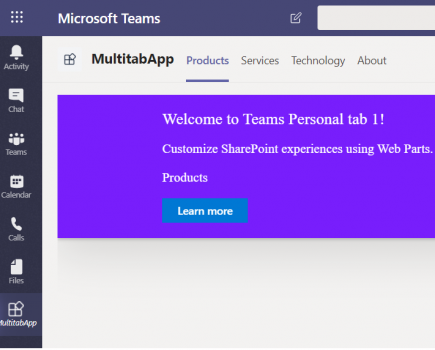 Build and Deploy multi-tab Microsoft Teams personal tab using SharePoint Framework(SPFx)
